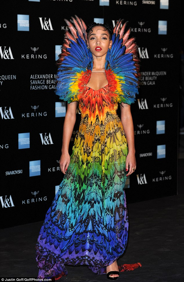 Whatever the feather: Singer FKA twigs wore McQueen's famous 2008 creation to a gala dinner at the V&A ahead of the Alexander McQueen: Savage Beauty exhibition which opens on Saturday