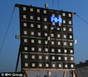The test, which took place at Kobe Shipyard & Machinery Works in Nagoya, Japan, will help Jaxa devise its long-awaited space solar power system.Mitsubishi used microwaves to deliver 1.8 kilowatts of power - enough to run an electric kettle - through the air with pinpoint accuracy to a receiver (right) 170ft (55 metres) away
