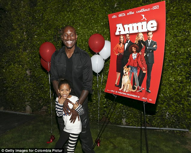 Happy duo: Tyrese and his daughter Shayla pictured at a screening of Annie in October