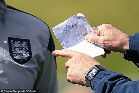 Roy Hodgson holds a piece of paper which seems to pair Wayne Rooney and Kane together in attack
