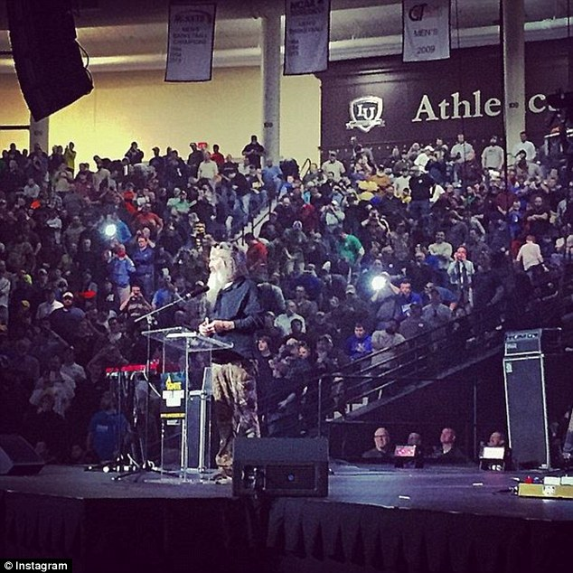 Controversial: Phil Robertson has developed a second career speaking at Christian events (seen here at one prior to his speech in Florida on Friday)