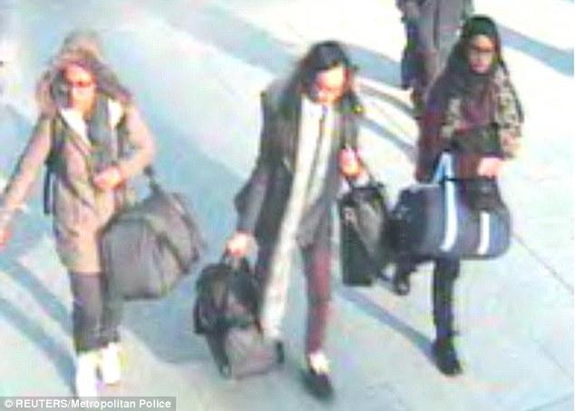 Classmates Kadiza Sultana, 16, Shamima Begum, 15, and Amira Abase, 15, fled to Syria last month