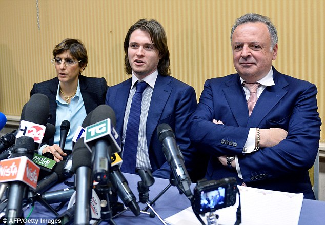 Raffaele Sollecito (centre) speaks during a press conference in Rome flanked by his lawyers Giulia Bongiorno (left) and Luca Maori after being acquitted of murdering British student Meredith Kercher last month