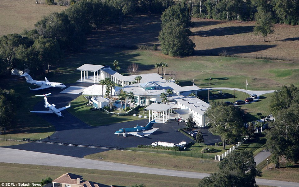 John Travolta's family home in Ocala, just outside Clearwater. The home has a private airstrip