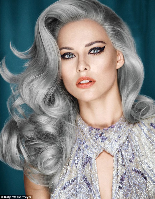 Katja Wassermeyer (katja-wassermeyer-photographer.com) is one of the many photographers who has embraced the trend, with eye-catching beauty image of a model with tumbling grey locks