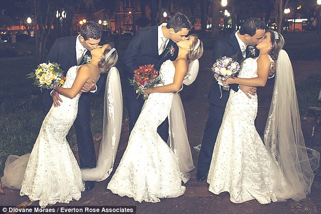 The triplets, pictured with their new husbandsRafael, Gabriel and Eduardo,wore the exact same wedding dress, as well as hair style and make up, for their big day on Saturday