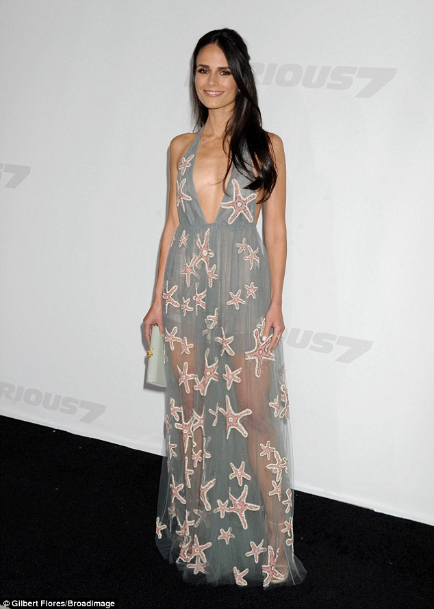 Taking the plunge! Jordana Brewster sizzled with a neckline that was cut to the naval