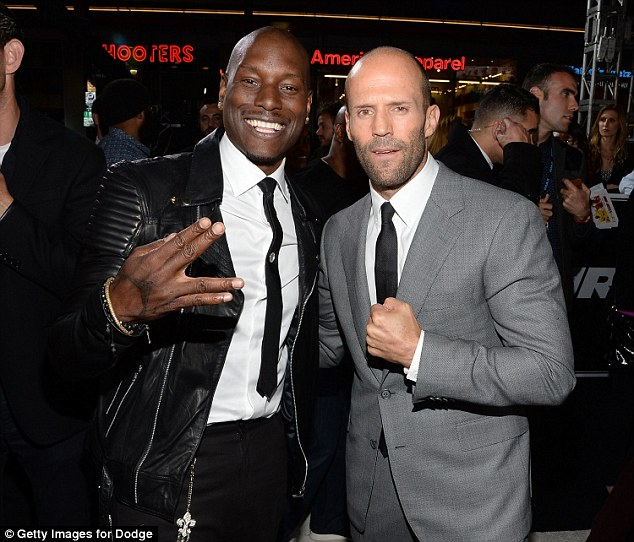 Good times: Statham and Tyrese Gibson were side by side at the event on Wednesday evening