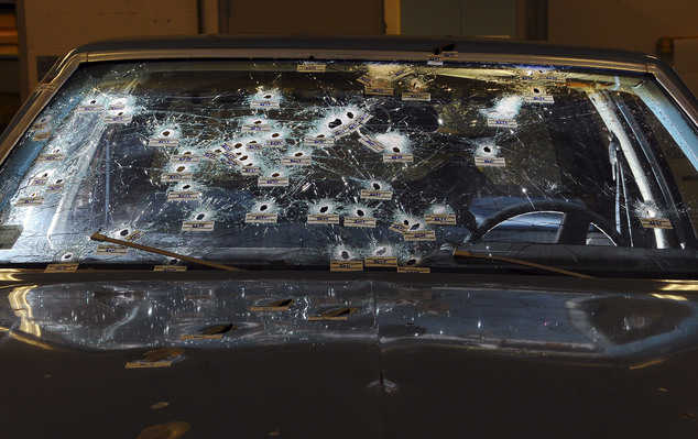 Cleveland officer Michael Brelo is facing charges after two unarmed suspects were killed in this  Chevy Malibu