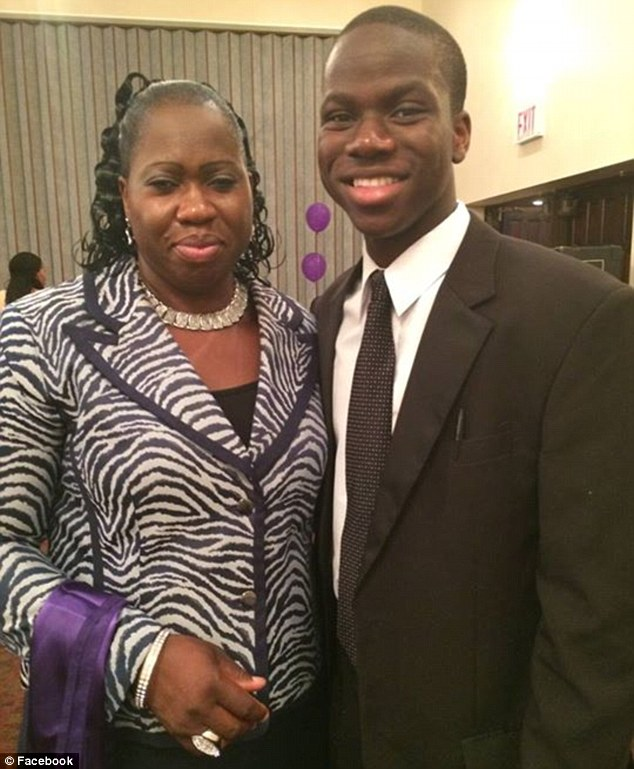 Star: The high school senior moved from Nigeria to Long Island 10 years ago with his parents Roseline (pictured) and Paul Ekeh. He says his parents' struggle inspired him to take every opportunity he was afforded