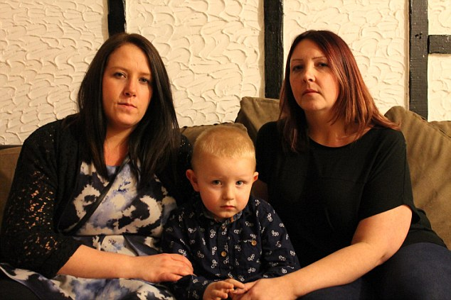 Family feud: Larissa Knipe (left) is pictured with her son Logun and sister Leanne Bourne (right)