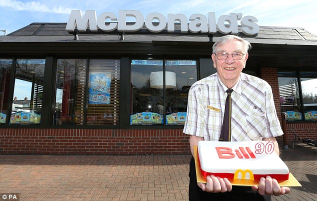 Oldest European Mcdonald S Worker Bill Dudley Turns 90 And