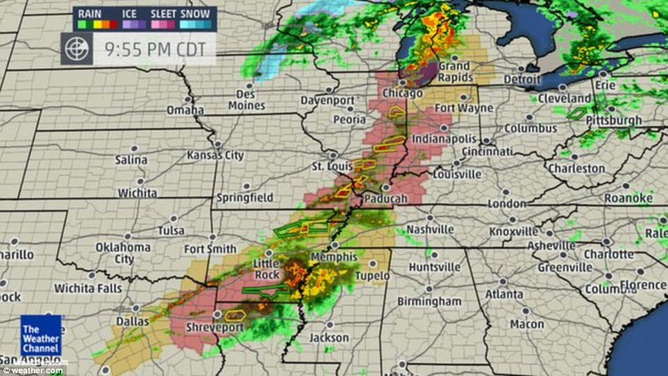 A line of storms stretches from southern Illinois down into southeast Missouri moving east at around 50mph