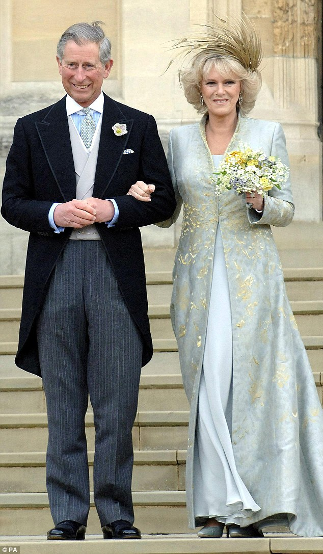 The Prince of Wales and the Duchess of Cornwall outside St George's Chapel, Windsor after their civil wedding in 2004