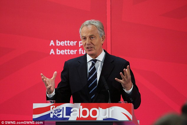 Blair in his old constituency giving a talk at the Xcel centre in County Durham in support of Ed Miliband. He saidhe hoped to stay active in both politics and business well into his 90s