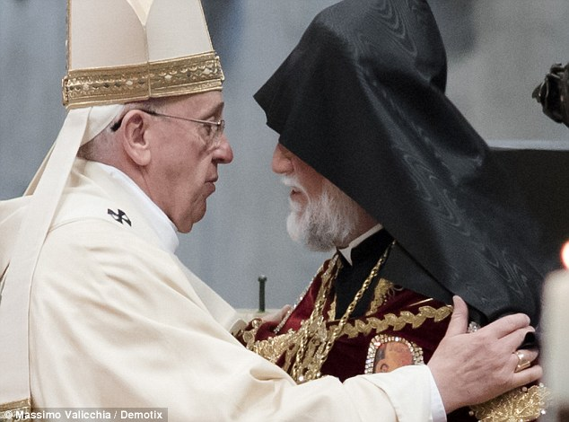 Mass: Pope Francis greets the Head of Armenia's Orthodox Church Karekin II, during an Armenian-Rite Mass on the occasion of the commemoration of the 100th anniversary of the Armenian Genocide
