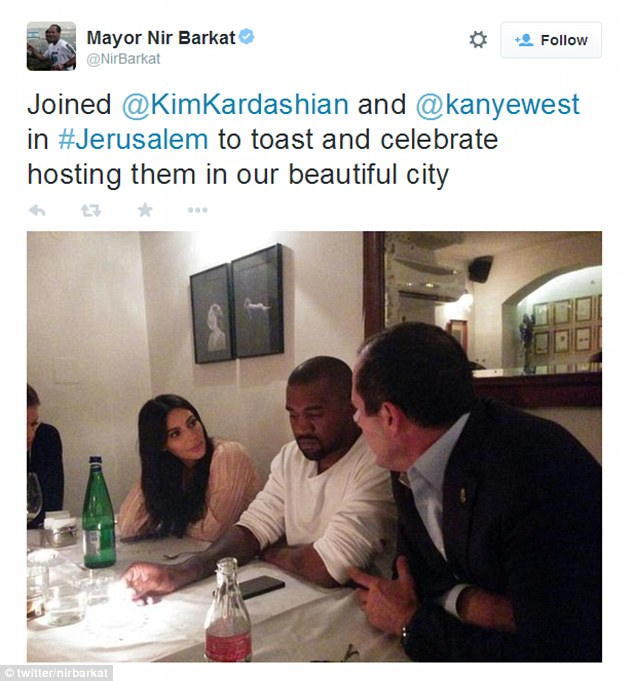 Celebratory meal: The article itself - which condemned Mr Barkat for dining at a non-kosher venue and for the pricey bill (including tip) - referred to Kim as 'the wife' of singer Kanye. Above, Mr Barkat's initial tweet