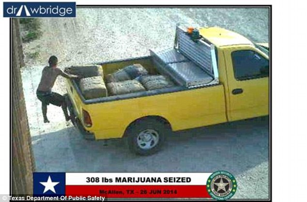 A man is seen here jumping off the back of a truck with 208lbs of marijuana stashed on the back