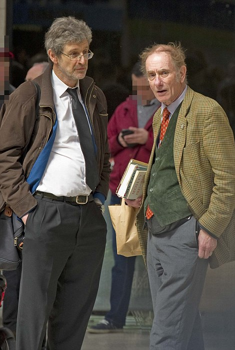 Ex-newspaper editor for the BNP John Morse (second from right) with retired teacherMichael Woodbridge (right)