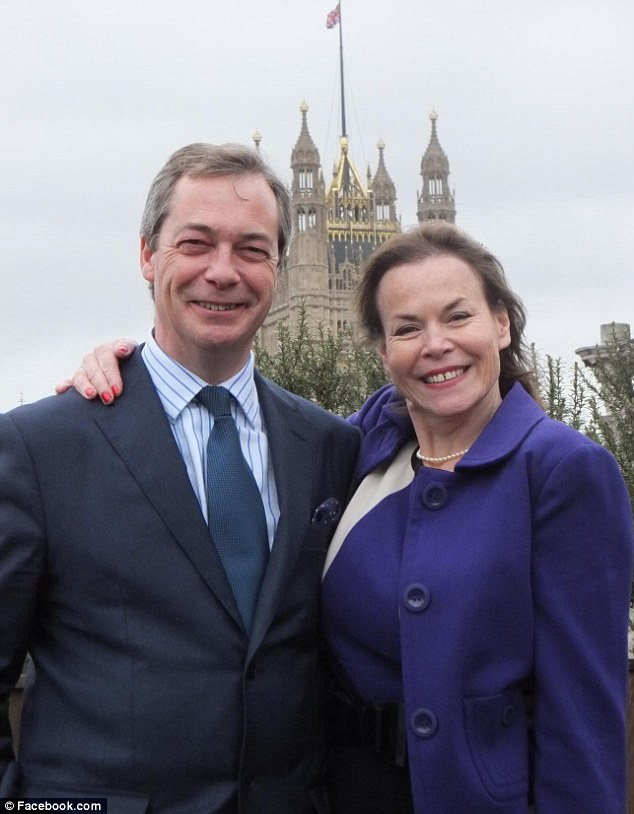 Row:UKIP politician Victoria Ayling, with party leader Nigel Farage, who is being questioned over claims about son