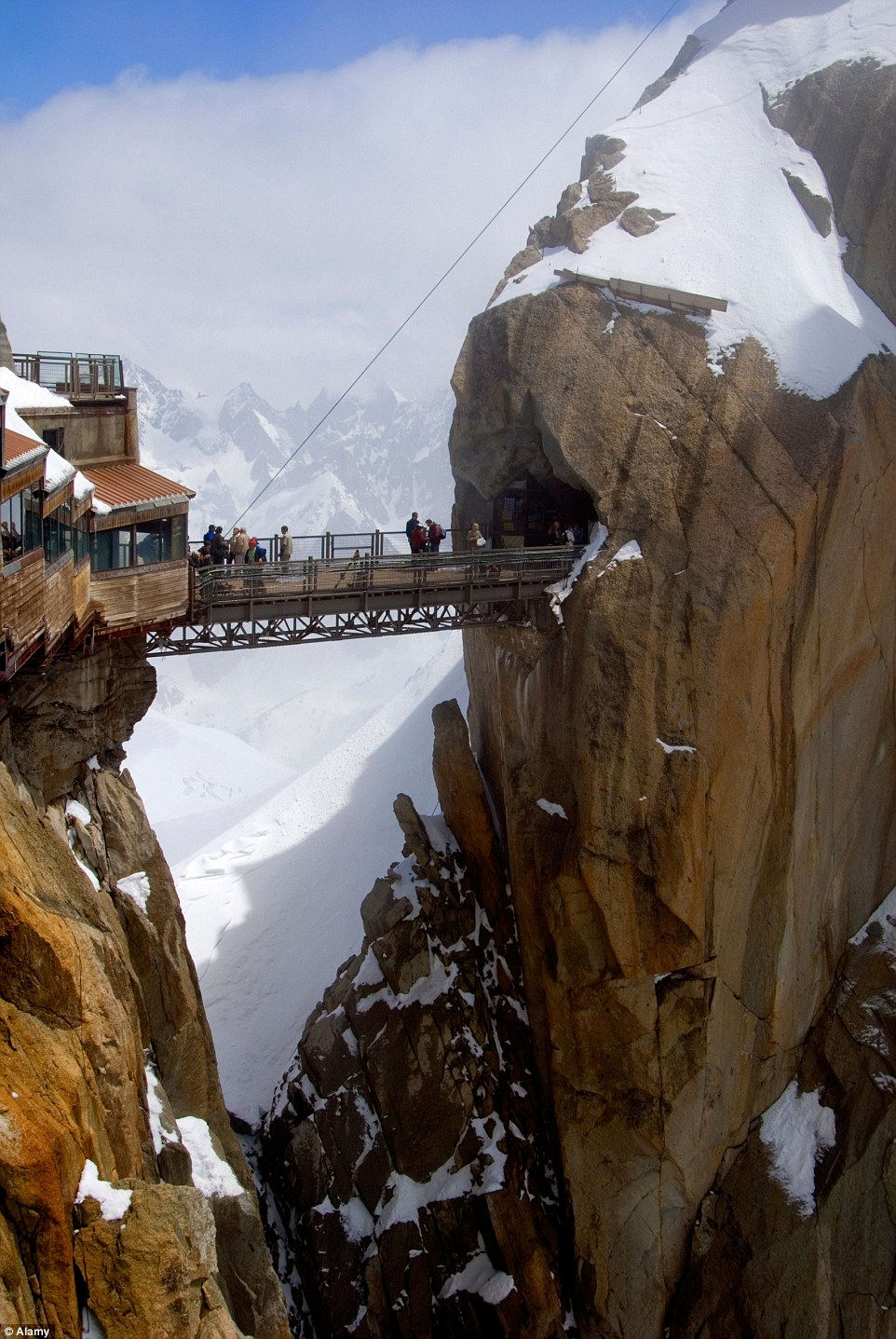 To the south-east of Chamonix, the 12,605ft peak is home to a cafe and gift shop, and attracts nearly half a million visitors each year
