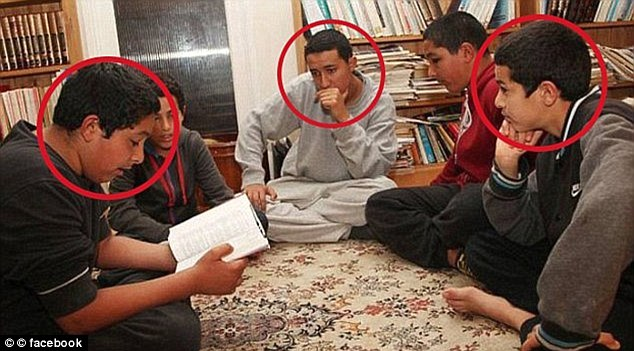 Amer Deghayes (centre, in grey) was the first of his family to leave for Syria, telling his parents he wanted to be an aid worker. Brother Abdullah (front left) and Jaffar (front right) followed soon after