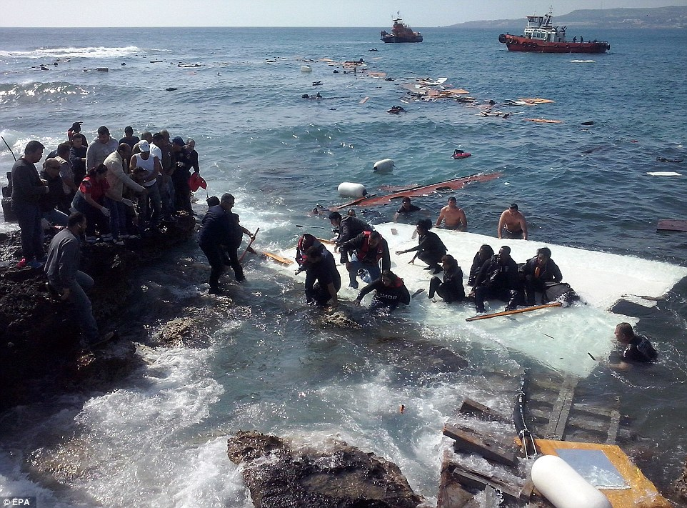 Harrowing: Video footage shows a large, wooden double-masted boat with people packed on board, just metres away from the Greek island of Rhodes in the eastern Mediterranean Sea. Around 1,000 people are thought to have died in several migrant boat disasters in just 24 hours