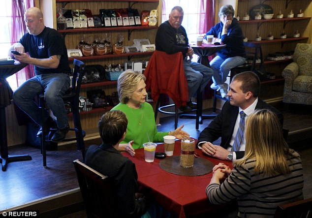 In LeClaire, Iowa six days ago, Clinton's campaign took flack for bringing three Iowa Democratic partisans to a cafe where they appeared to be 'everyday Americans' meeting over coffee