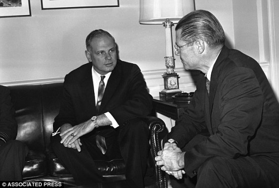In this image, secretary of defense at the time, Robert McNamara (right) talks at the pentagon, in Washington with his Canadian counterpart, Paul Hellyer (left), in 1963. Hellyer is the first high ranking politician to publicly state that aliens are real