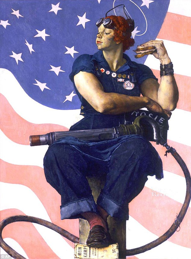 Riveting: The painting shows Rosie in blue work overalls sitting down in front of the American flag, with a sandwich in her left hand, a rivet gun on her lap and her feet resting on a copy of Adolf Hitler's 'Mein Kampf'