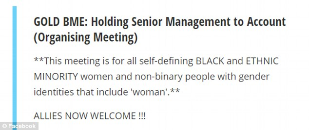 A notice about the meeting later appeared to show the ban had been dropped, stating: 'Allies now welcome!'