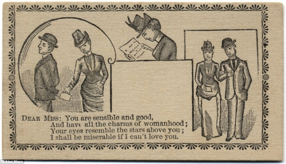 The card commonly carried a brief message and a simple illustration