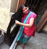indian woman with seven-foot-long
