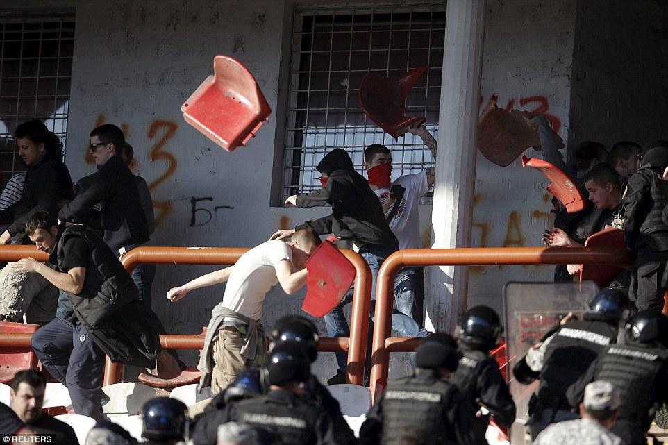 Violent scenes at derby between Red Star Belgrade and