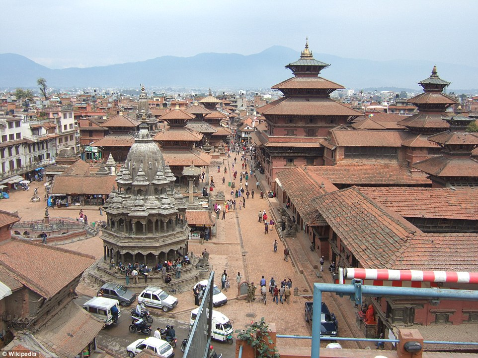 Before: The Kathmandu Durbar Square, at the heart of Nepal's capital, is full of temples and historic houses with their distinctive roofs