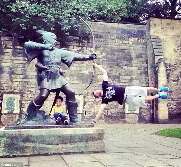 He has also been snapped at various landmarks in his hometown of Nottingham including from the city's iconic Robin Hood statue