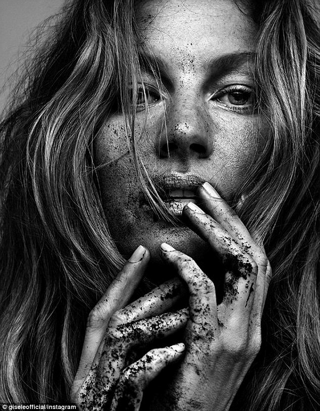 'When we honor the earth, we honor ourselves': In a black and white Vogue head shot posted to Instagram, she is photographed in a more nitty-gritty manner