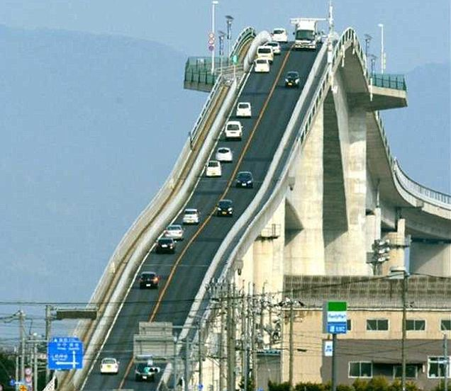 Road bridge... or rollercoaster? Japan's incredible Eshima Ohashi is enough to give the