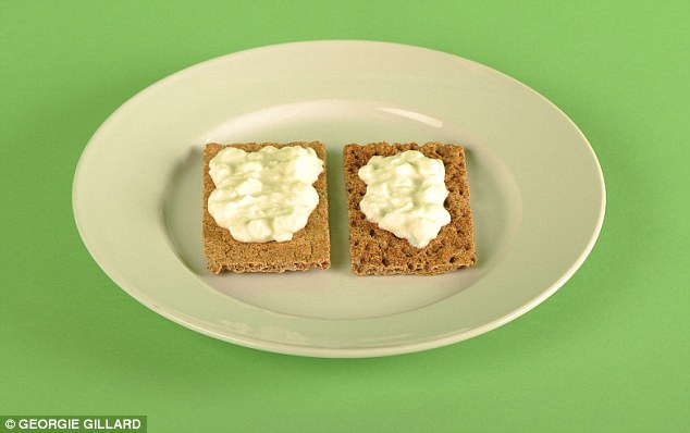 Two rye crispbreads topped with two tablespoons of cottage cheese (80g)