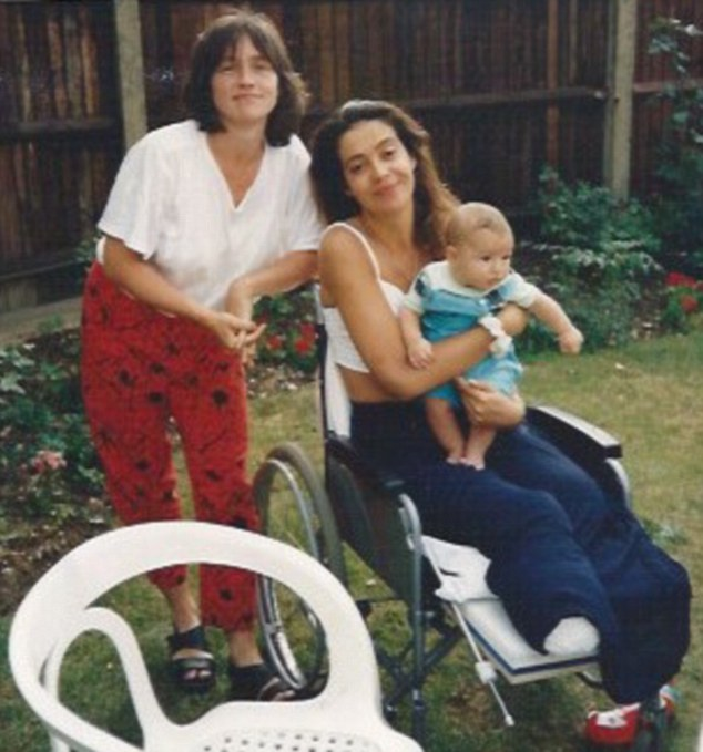 Diana pictured here with her friend Katie and Katie's son Billy, while undergoing rehabilitation which involved learning to walk again with prosthetic limbs, at Queen Mary's Hospital, Roehampton