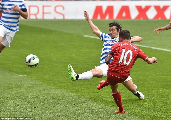 Philippe Couinho curls Liverpool into the lead in the 19th minute against Queens Park Rangers at Anfield on Saturday