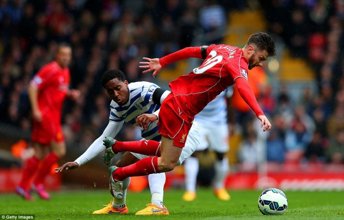 Adam Lallana, back in the Liverpool side after injury, is sent tumbling by QPR midfield player Fer