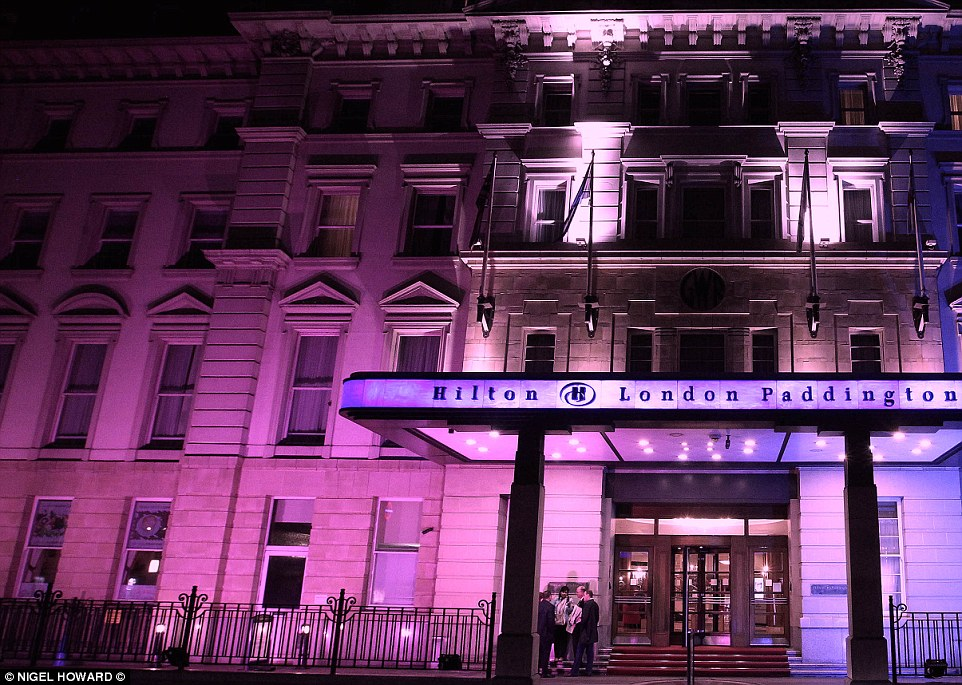 The Hilton Hotel in Paddington is lit up in pink tonight to celebrate the birth of a royal princess just around the corner at St Mary's Hospital