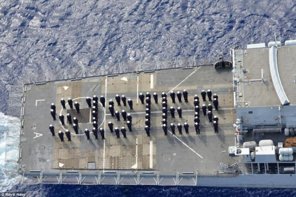 One of the most inventive 'congratulations' was from the crew of HMS Lancaster who formed up on deck to spell out 'sister'