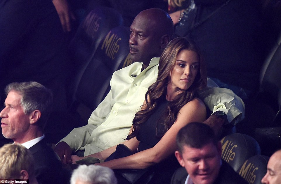 Basketball legend Michael Jordan is joined by wife Yvette Prieto at the MGM Grand to watch the fight