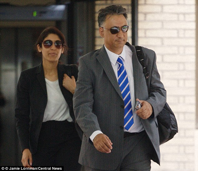 Convicted: Last year, Ms Ali-Khan was given a 12-month conditional discharge after admitting that she had encouraged her husband (pictured with Ms Ali-Khan outside court) to illegally access emails for her