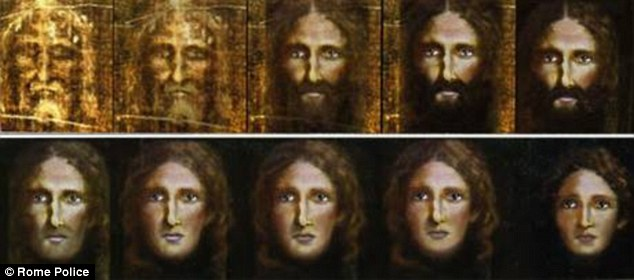 Winding back the years: Detectives used a computer program to reverse the ageing process on an image from the Turin Shroud (top left) to arrive at the younger Christ (bottom right)