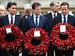 (L-R) Outgoing opposition Labour Party leader Ed Miliband, outgoing Liberal Democratic Party leader Nick Clegg and British Prime Minister David Cameron attend a VE Day service of remembrance at the Cenotaph on Whitehall in London on May 8, 2015, to commemorate the 70th anniversary of the end of the Second World War in Europe.  AFP PHOTO / LEON NEALLEON NEAL/AFP/Getty Images