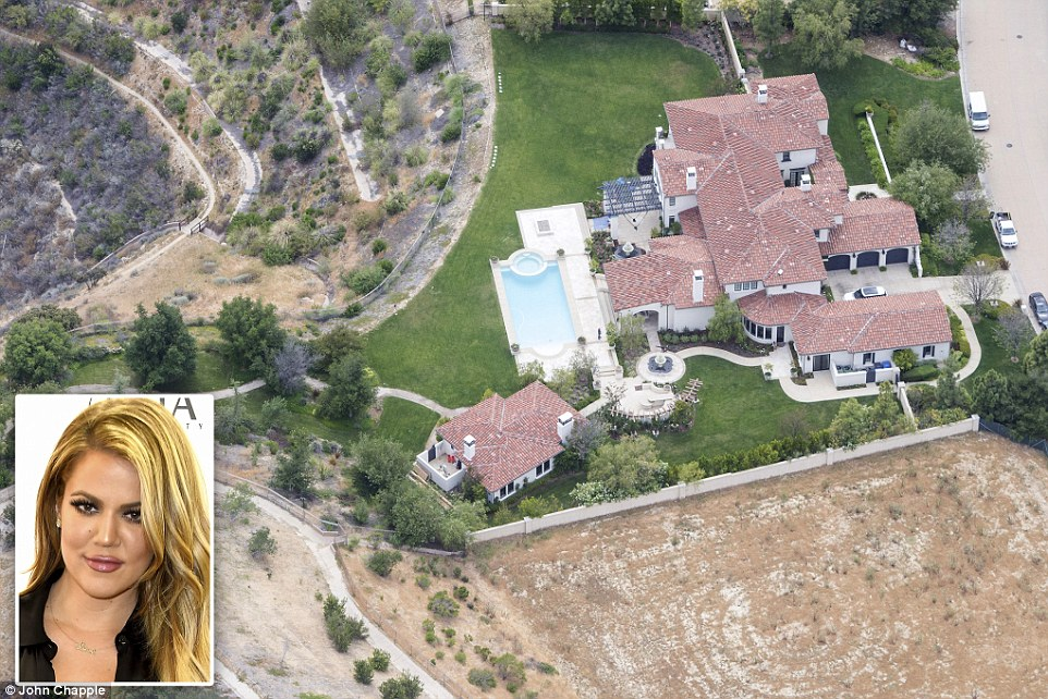 From Justin to Khloe: Khloe Kardashian purchased this Calabasas estate from pop-star Justin Bieber last year, and keeps the lawn in trip-top shape