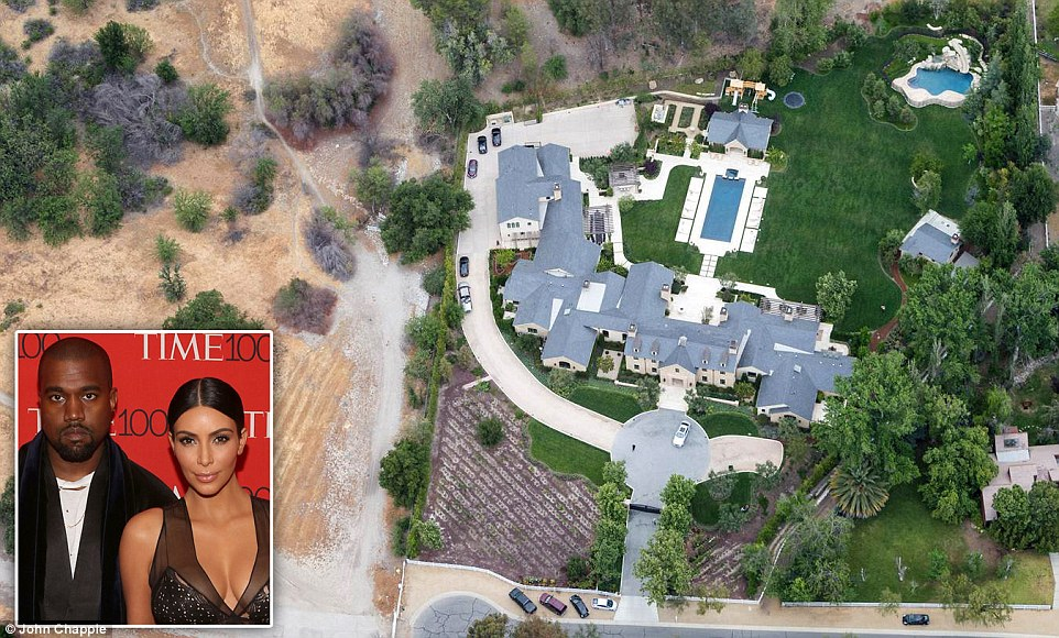 What drought? The Hidden Hills, California estate owned by rapper Kanye West and his reality-star wife Kim Kardashian appears healthy and green despite California currently being in the middle of its worst drought in history